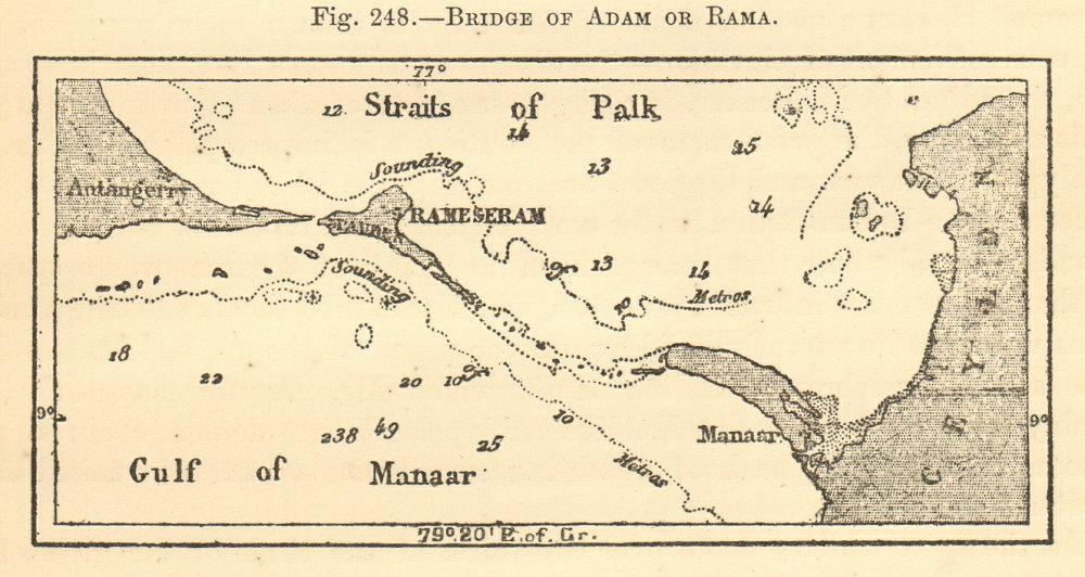 Associate Product Bridge of Adam or Rama. Sri Lanka. India. SMALL sketch map 1886 old