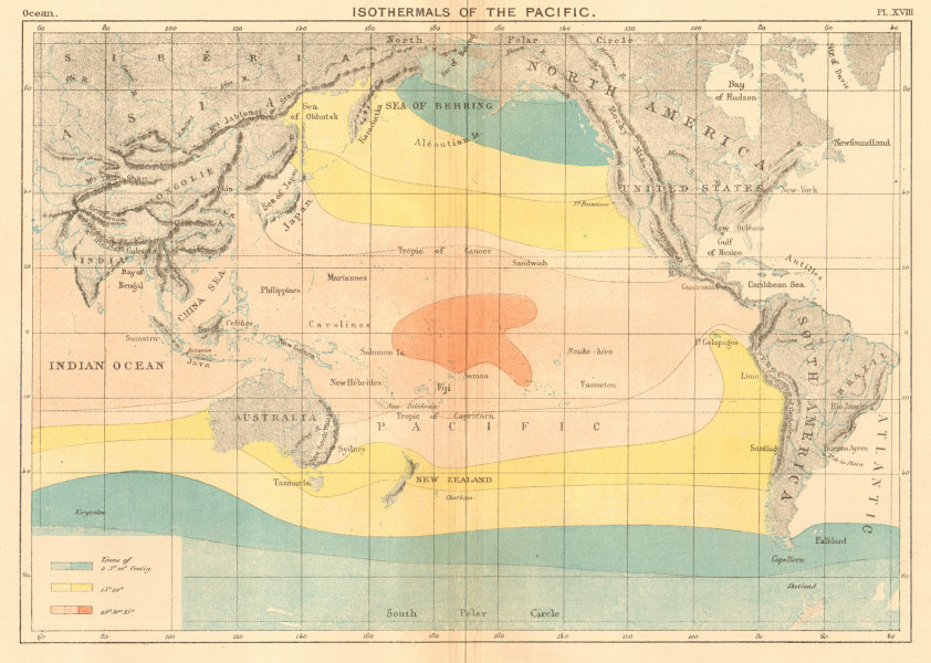 Associate Product Isothermals of the Pacific Ocean 1886 old antique vintage map plan chart