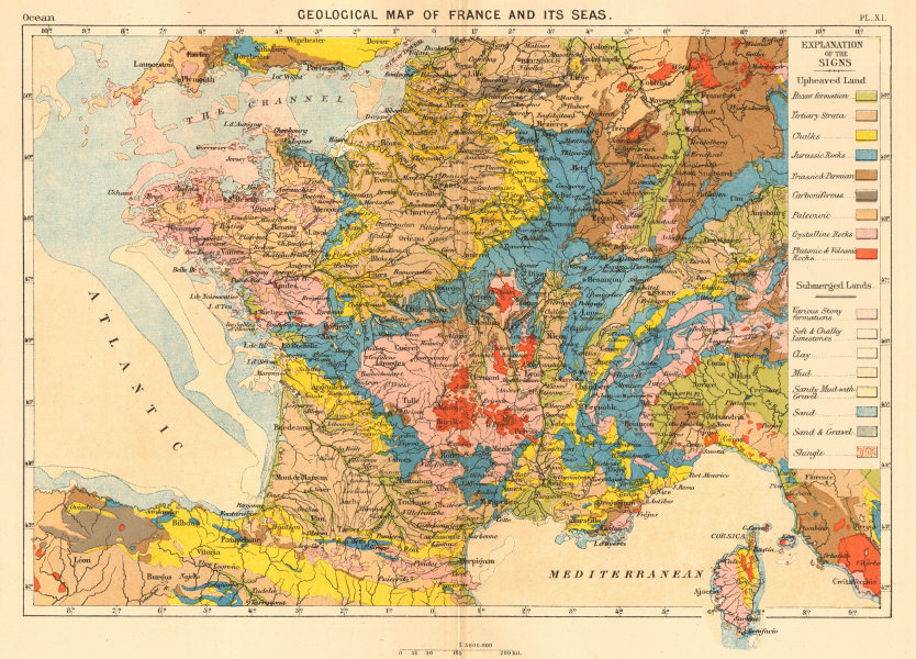 Associate Product Geological Map of France and its seas 1886 old antique vintage plan chart