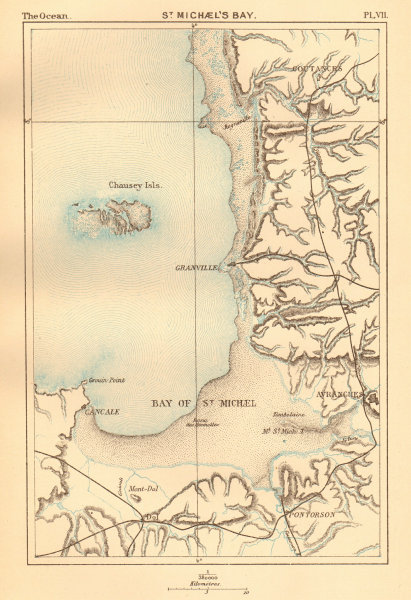 Associate Product St Michael's Bay. Normandy. Mont St Michel Granville Avranches 1886 old map