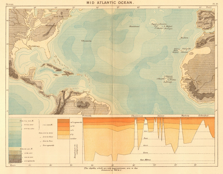 Associate Product The Mid Atlantic Ocean 1886 old antique vintage map plan chart
