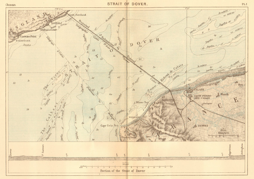Associate Product Strait of Dover. Kent. Projected Channel Tunnel. Calais 1886 old antique map