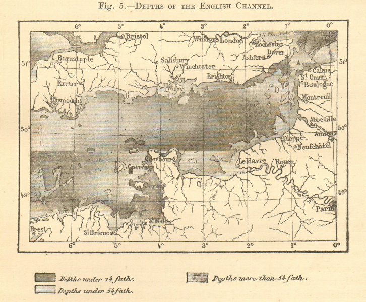 Associate Product Depths of the English Channel. Sketch map 1886 old antique plan chart