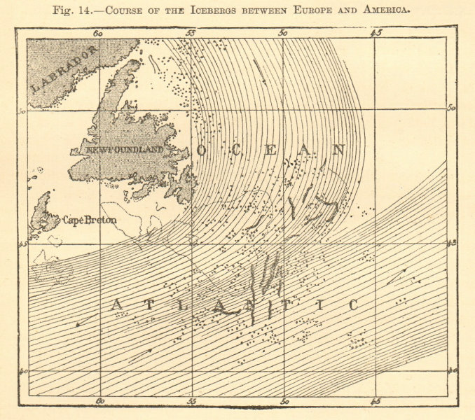 Associate Product North Atlantic Icebergs. Newfoundland. Sketch map 1886 old antique chart