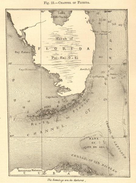 Associate Product Straits or Channel of Florida. Cuba Keys Pai-hai-o-ki. Sketch map 1886 old