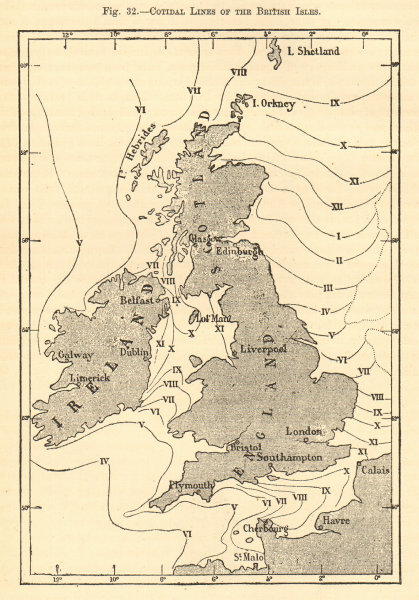 Associate Product Cotidal lines of the British Isles. Sketch map 1886 old antique plan chart