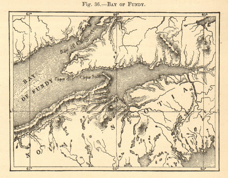 Associate Product Bay of Fundy. Canada. Nova Scotia. Sketch map 1886 old antique plan chart