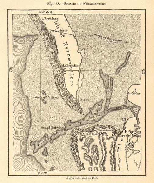Associate Product Straits of Normoutiers. Vendée. Noirmoutier-en-l'Île. Sketch map 1886 old