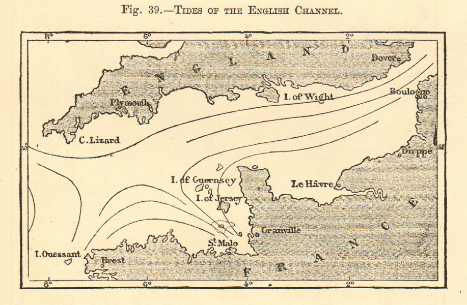 Associate Product Tides of the English Channel. SMALL sketch map 1886 old antique plan chart