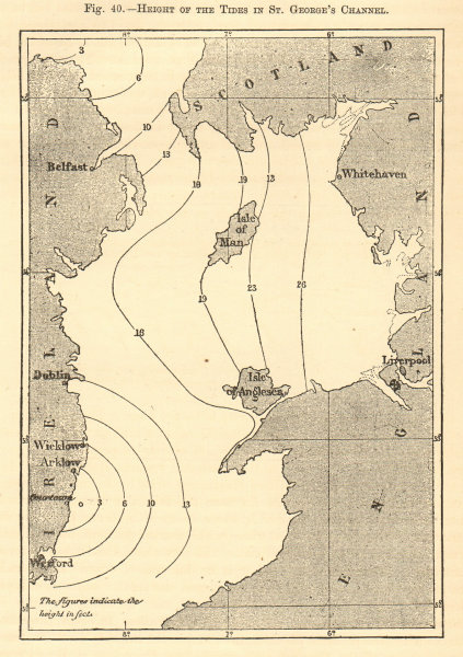 Associate Product Height of the tides in the St George's Channel. Irish Sea. Sketch map 1886
