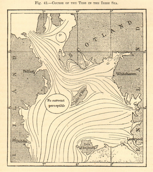 Associate Product Course of the tide in the Irish Sea. British Isles. Sketch map 1886 old