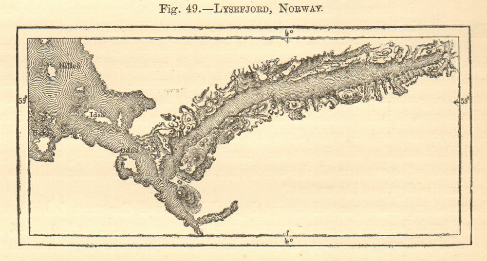 Associate Product Lysefjord, Norway. SMALL sketch map 1886 old antique vintage plan chart