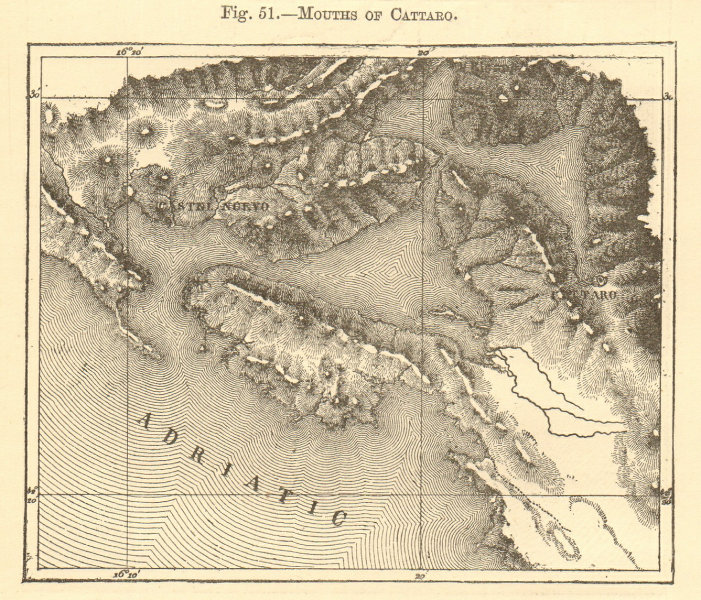 Associate Product Mouths of Cattaro. Montenegro. Gulf of Kotor. Sketch map 1886 old antique