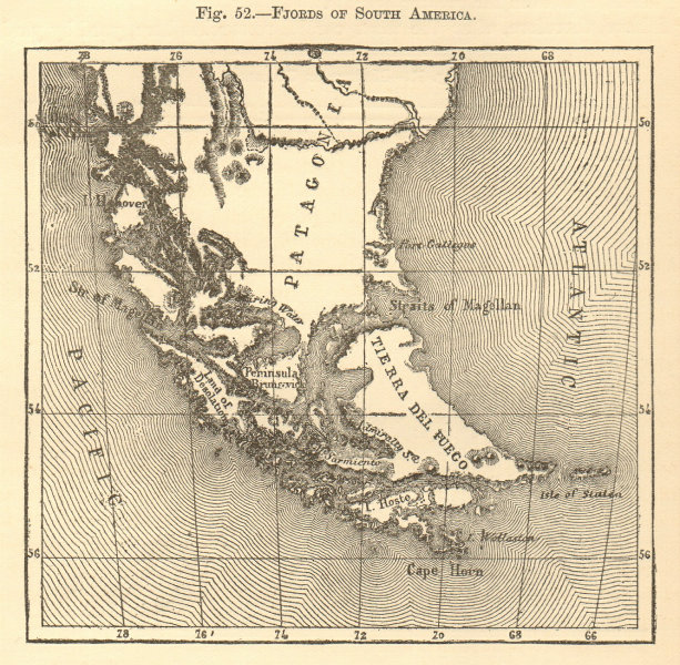 Associate Product Fjords of South America. Tierra del Fuego Patagonia. Sketch map 1886 old