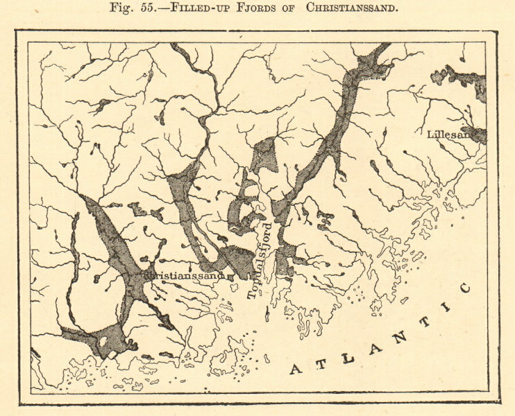 Associate Product Kristiansand filled-up fjords. Topdalsfjorden. Norway. Sketch map 1886 old
