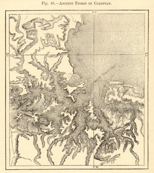 Associate Product Ancient fjords of Carentan. Manche. Sketch map 1886 old antique plan chart