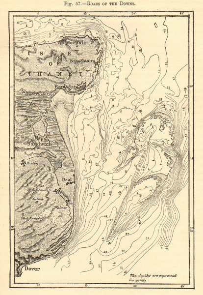 Associate Product Downs roadstead. Kent Thanet Ramsgate Margate Dover Sandwich. Sketch map 1886