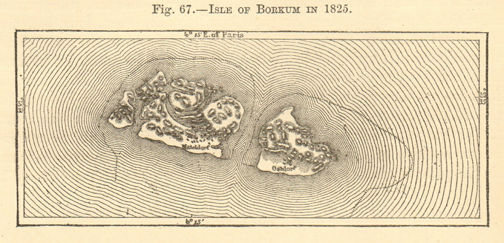 Associate Product Isle of Borkum in 1825. Lower Saxony. SMALL sketch map 1886 old antique