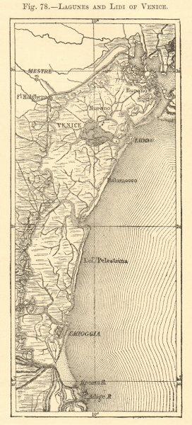Associate Product Lagunes and Lidi of Venice. Chioggia. Lido. Sketch map 1886 old antique