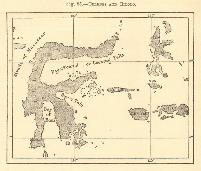 Associate Product Celebes and Gilolo. Indonesia. Sulawesi. Sketch map 1886 old antique chart