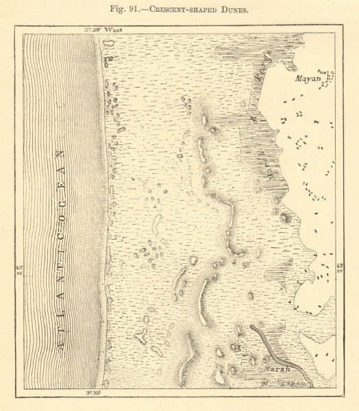 Associate Product Crescent-shaped dune. Gironde. Mayan Montalivet. Sketch map 1886 old