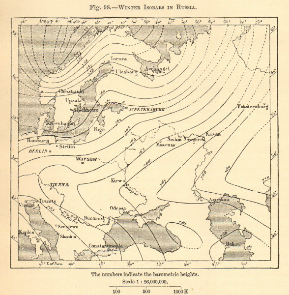 Associate Product Winter Isobars in Russia. Sketch map 1886 old antique vintage plan chart