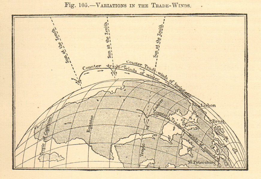Associate Product Variations in the trade winds. Africa. Sketch map 1886 old antique chart