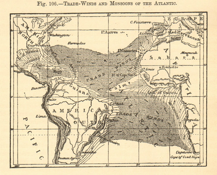 Associate Product Trade-winds and monsoons of the Atlantic. Atlantic Ocean. Sketch map 1886