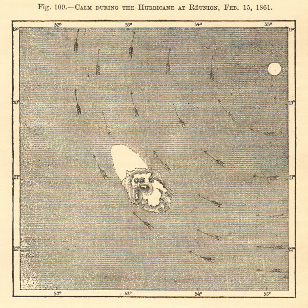 Associate Product Calm during the hurricane at Reunion, Feb 15, 1861. Réunion. Sketch map 1886