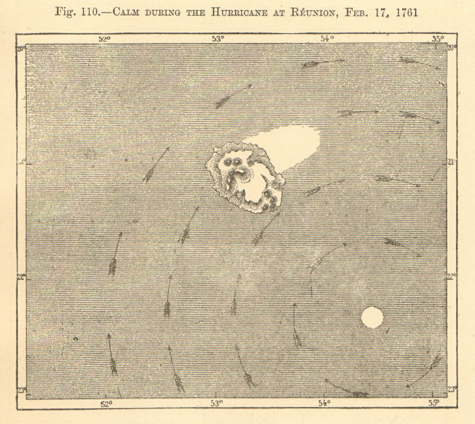 Associate Product Calm during the hurricane at Reunion, Feb 17, 1761. Réunion. Sketch map 1886