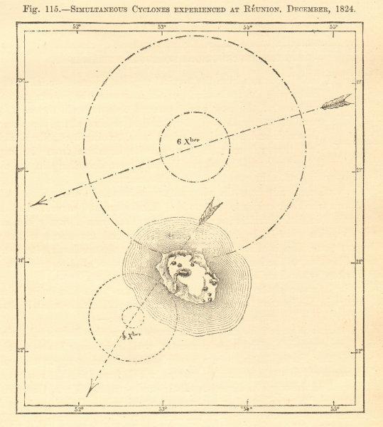 Associate Product Simultaneous cyclones, Réunion December 1824. Indian Ocean. Sketch map 1886