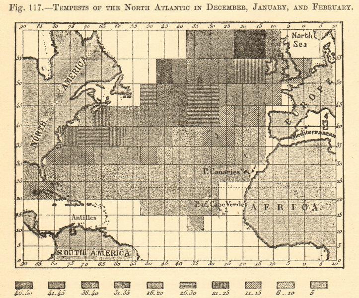 Associate Product North Atlantic ocean storms in December, January & February. Sketch map 1886