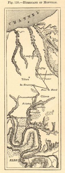 Associate Product Hurricane of Monville. Seine-Maritime. Dieppe Rouen. Sketch map 1886 old