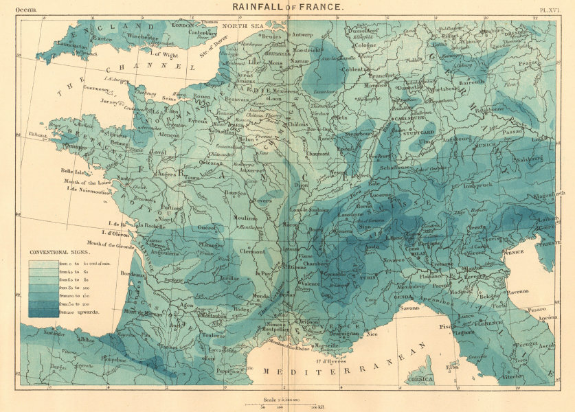 Associate Product The Rainfall of France 1886 old antique vintage map plan chart