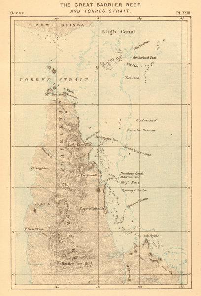Associate Product The Great Barrier Reef. Australia. Cape York peninsula, Queensland 1886 map
