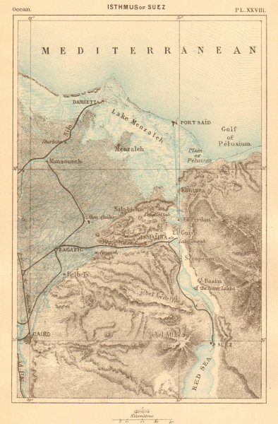 Associate Product Isthmus of Suez. Egypt. Cairo 1886 old antique vintage map plan chart
