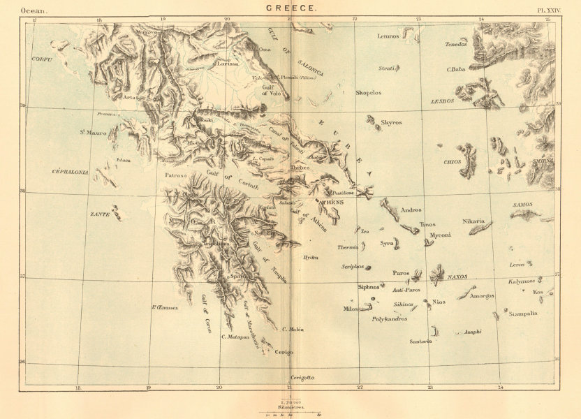 Associate Product Greece 1886 old antique vintage map plan chart