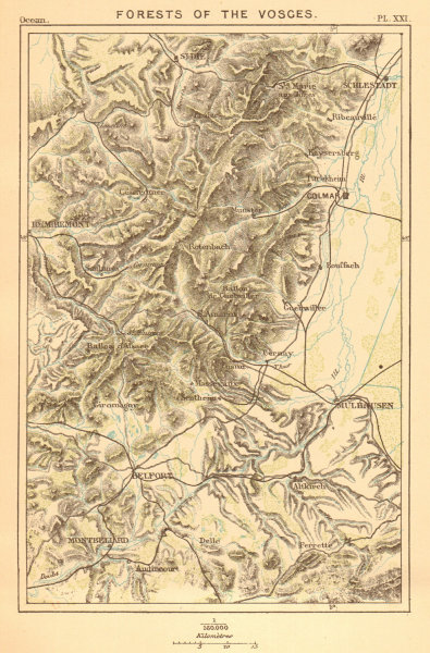 Associate Product Forests of the Vosges. Haut-Rhin. Colmar Remiremont Belfort Mulhouse 1886 map