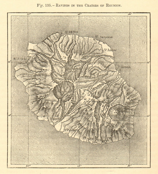 Associate Product Ravines in the craters of Reunion. Réunion. Sketch map 1886 old antique