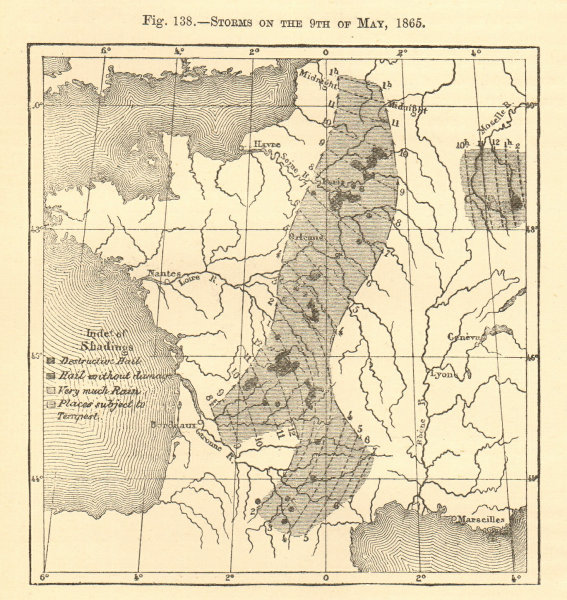 Associate Product Storms on the 9th of May 1865. France. Hail. Sketch map 1886 old antique