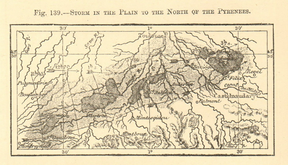 Associate Product Storm to the north of the Pyrenees. Aude. Castelnaudary. SMALL sketch map 1886