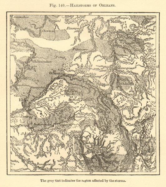Hailstorms of Orleans. Loiret. Bourges Blois Melun. Sketch map 1886 old