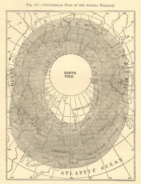 Associate Product Circumpolar zone of the Aurora Borealis. Arctic. North Pole. Sketch map 1886