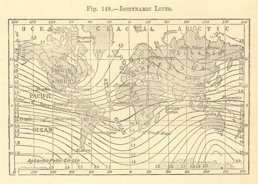 Associate Product Isodynamic Lines. World. SMALL sketch map 1886 old antique plan chart