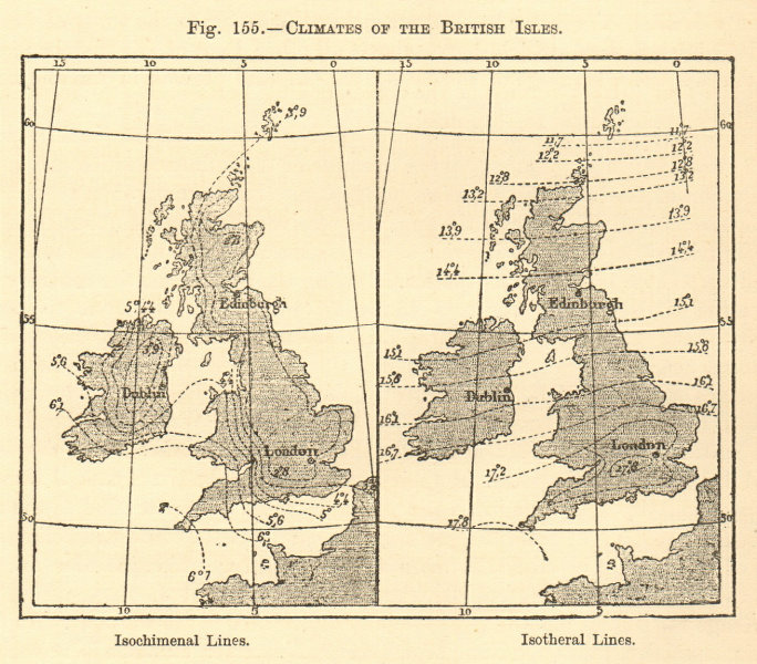 Associate Product Climates of the British Isles. Isochimenal & Isotheral lines. Sketch map 1886