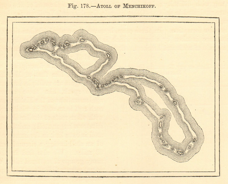 Associate Product Atoll of Menchikoff. Marshall Islands. Kwajalein Atoll. Sketch map 1886