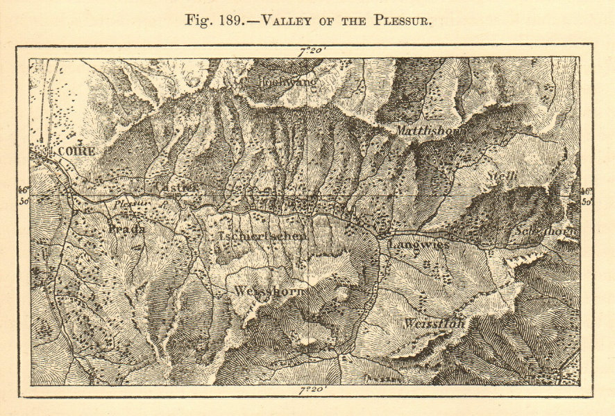 Associate Product Valley of the Plesseur. Plessur. Switzerland. Chur. SMALL sketch map 1886