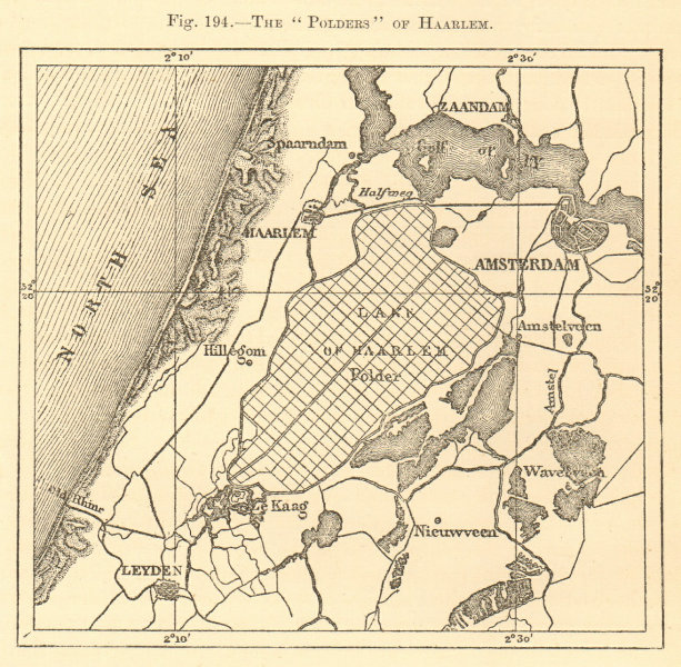 "Associate Product The ""Polders"" of Haarlem. Netherlands. Amsterdam Leiden. Sketch map 1886"