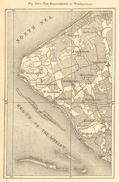Associate Product The Embankments of Westkapelle. Netherlands. Meliskerke. Sketch map 1886