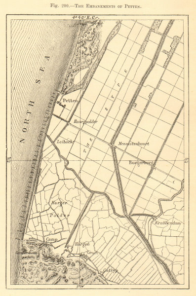 Associate Product The Embankments of Petten. Netherlands. Sketch map 1886 old antique chart